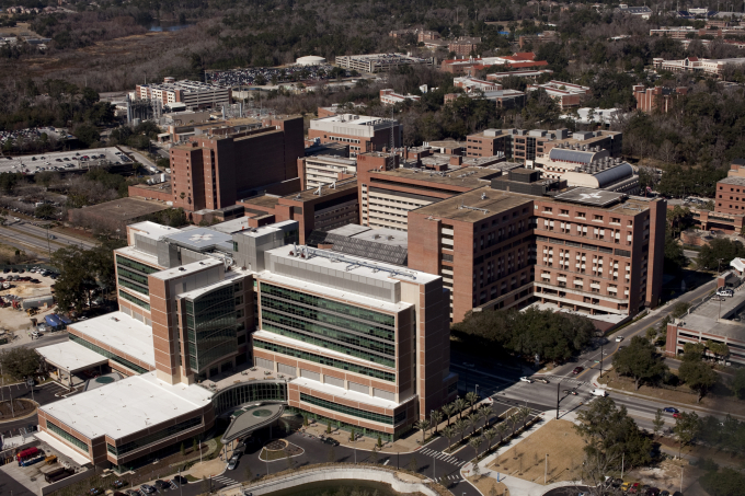 Aerial photograph of UF Health Science Center large brick building complex